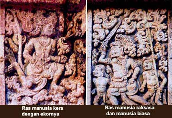 Relief menggambarkan ras manusia kera, ras manusia raksasa dan manusia biasa